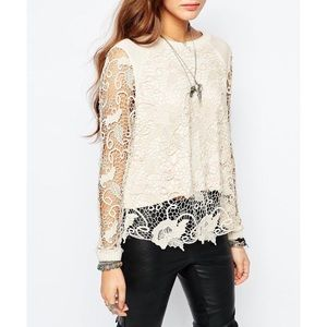 Free People Pretty Rad Pullover Crochet Sweater M